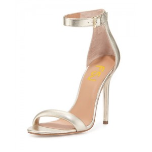 Champagne Ankle Strap Sandals Open Toe Stiletto Heel Office Sandals