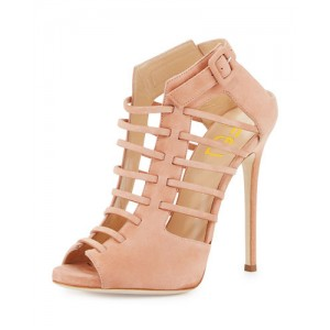 Women's Salmon Strappy Peep Toe Hollow out Stiletto Heels Sandals