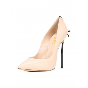 Women's Beige Bow Pointed Toe Leather Stiletto Heels Shoes