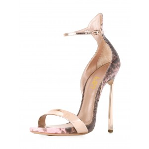 Pink Snakeskin Ankle Strap Sandals Open Toe Stiletto Heels for Ladies