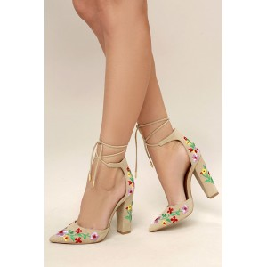 Women's Beige Floral Embroidered Ankle Strappy Chunky Heel Pumps