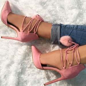 Pink Lace-up Heels Suede Stiletto Heel Strappy Pumps
