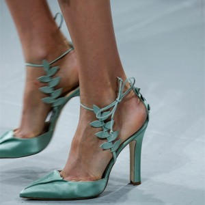 Turquoise Heels Ankle Strap Pointy Toe Satin Sandals for Prom