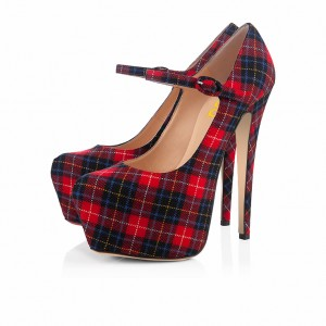 Plaid Mary Jane Pumps Platform  Vintage Heels