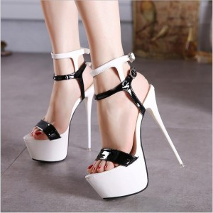 Black and White Sexy Shoes Patent Leather Stiletto Heel Stripper Shoes
