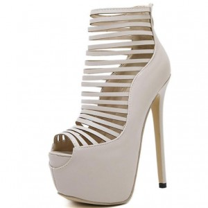 Beige Strappy Heels Peep Toe Platform Pumps High Heel Shoes