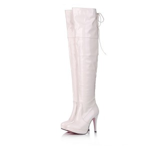 Women's White Patent Leather Stiletto Heel  Over-The-Knee Stripper Boots