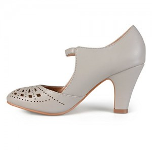 Women's Grey Cutout Round Toe Mary Jane Pumps Vintage Heels