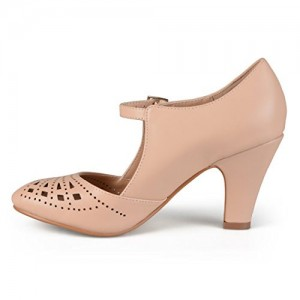 Women's Nude Cutout Round Toe Mary Jane Pumps Vintage Heels