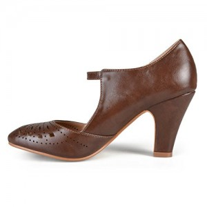 Women's Brown Cutout Round Toe Mary Jane Pumps Vintage Heels