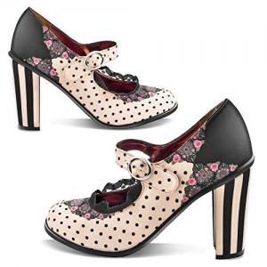 Women's Black and Beige Polka Dot Mary Jane Shoes Lace Round Vintage Pumps