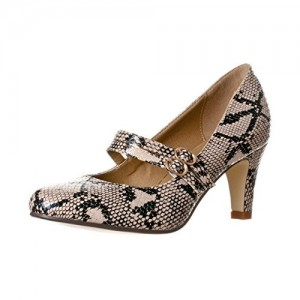 Women's Brown Python Mid Heel Pumps Vintage Mary Jane Shoes