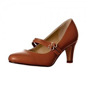 Women's Brown Mid Heel Pumps Vintage Mary Jane Shoes