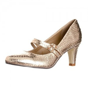 Gold Sparkly Heels Mary Jane Pumps Python Vintage Shoes for Women