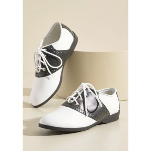 Women's White Flats Round Toe Oxfords Vintage-Retro Shoes