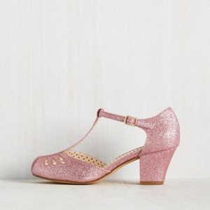 Women's Pink Glitter  Vintage Chunky Heels T-Strap Shoes