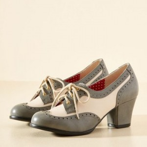 Women's Grey Lace-up Heels Vintage Chunky Heels Shoes