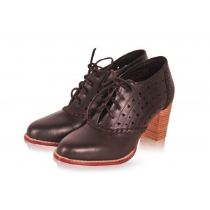 Women's Maroon Lace-up Chunky Heels Vintage Shoes