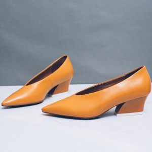 Women's Mustard Vintage Heels Pointy Toe Chunky Heel Retro Pumps