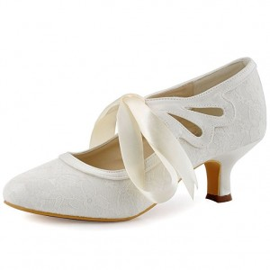 Women's White Lace Slik Ribbon Wedding Shoes Vintage Heels