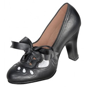 Black Chunky Heels Round Toe Vintage Shoes Silk Ribbon Lace up Pumps