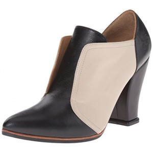 Black and Beige Vintage Shoes Spool Heel Ankle Boots