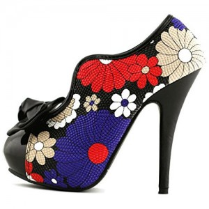 Women's Floral Bows Platform Pumps Stiletto Heels Vintage Shoes