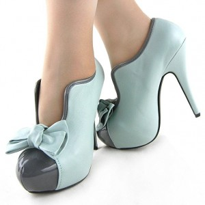 Turquoise Vintage Heels Platform Pumps with Bow