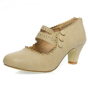 Khaki Vintage Heels Round Toe Cone Heel Pumps for Women