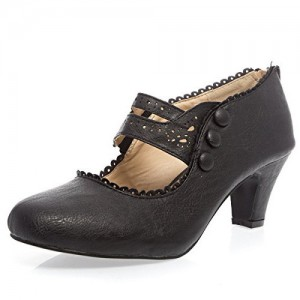 Black Hollow out Vintage Heels Round Toe Cone Heel Mary Jane Pumps