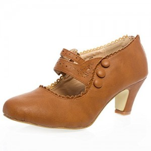 Tan Wide Width Heels Low Chunky Heel Vintage Shoes