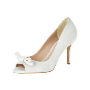 Women's White Bow Peep Toe Stiletto Heel Vintage Heels