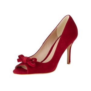 Women's Red Bow Peep Toe Stiletto Heel Vintage Heels