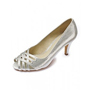 Women's Silver Peep Toe Elegant Wedding Shoes Vintage Heels