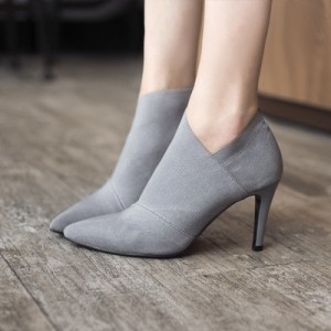 Grey Vintage Heels Pointy Toe Stiletto Heels Ankle Booties