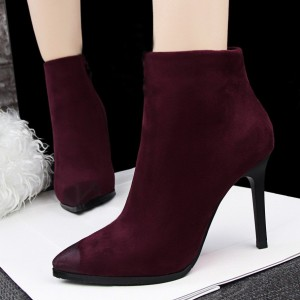 2017 Burgundy Stiletto Heels Pointy Toe Suede Ankle Booties for Women