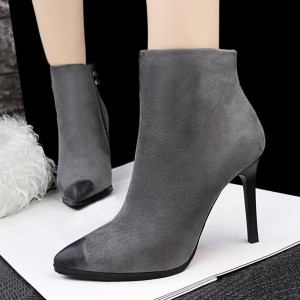 Women's Grey Pointed Toe Stiletto Heels Vintage Ankle Boots