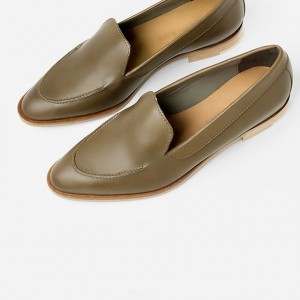 Women's Brown Pointed Toe Vintage  Retro Comfortable Flats Shoes