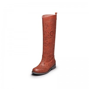 Women's Maroon Hollow Out Flat Vintage Boots