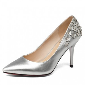 Silver Floral Elegant Stiletto Heel Bridal Shoes