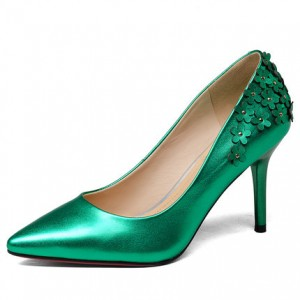 Green Floral Elegant Stiletto Heel Bridal Shoes