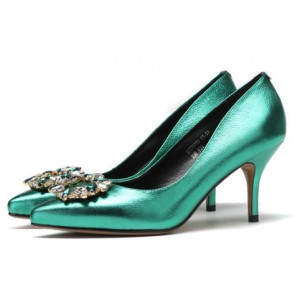 Green Mirror Leather Crystal Square Buckle Stiletto Heel Wedding Shoes