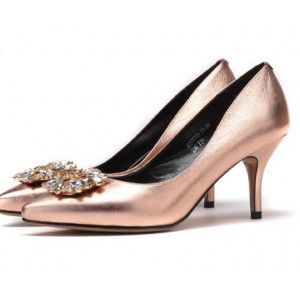 Women's Champagne Mirror Leather Crystal Stiletto Heel Pumps Bridal Heels