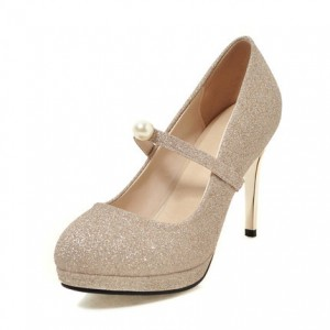 Champagne Mary Jane Pumps - Stiletto Heels - Vintage Retro Round Toe Shoes With Ankle Strap