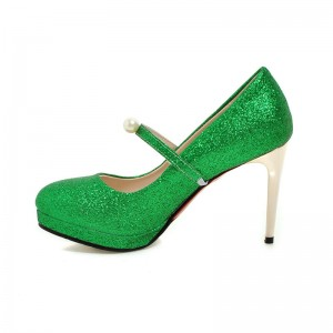 Women's Green Glitter Sttiletto Heels Pearl Almond Toe Mary Jane Shoes