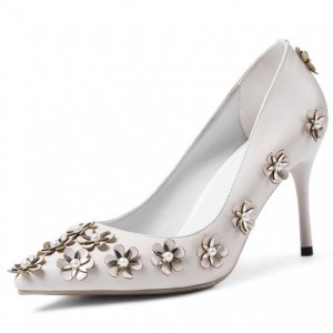 White Floral Heels Pointy Toe Stiletto Heels Pumps for Honeymoon
