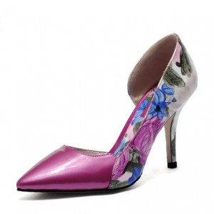 Women's Rose Low-cut Floral-print Pencil Stiletto Heels Pumps Shoes