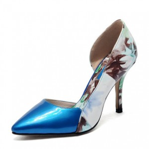 Women's  Blue Low-cut Floral-print Pencil Stiletto Heels Pumps Shoes