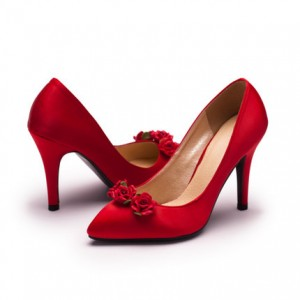 Women's Romance Red Satin Floral Stiletto Heel Pumps Bridal Heels