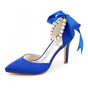 Women's Blue Bow Bridesmaid Shoes Stiletto Heel Wedding Shoes